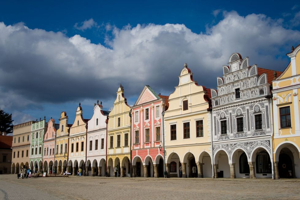 Houses on the square in Telč.