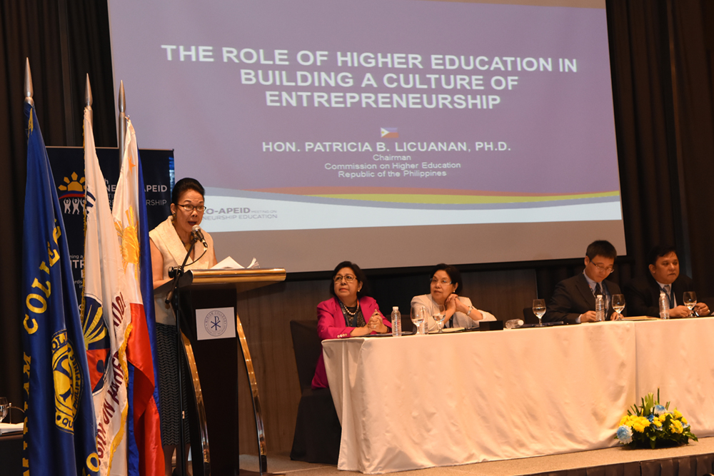 CHED Chair, Dr. Patricia B. Licuanan (center) keynotes the 6th UNESCO-APEID Meeting on Entrepreneurship Education. Looking on are from left Senior Program Coordinator for the Women and Gender Institute of Miriam College Prof. Aurora De Dios, Miriam College President Dr. Rosario O. Lapus and Educational Innovation and Skills Development (EISD) UNESCO APEID Bangkok Chief Mr. Libing Wang, and 6th UNESCO APEID Meeting Chair, Dr. Antonio M. Lopez.