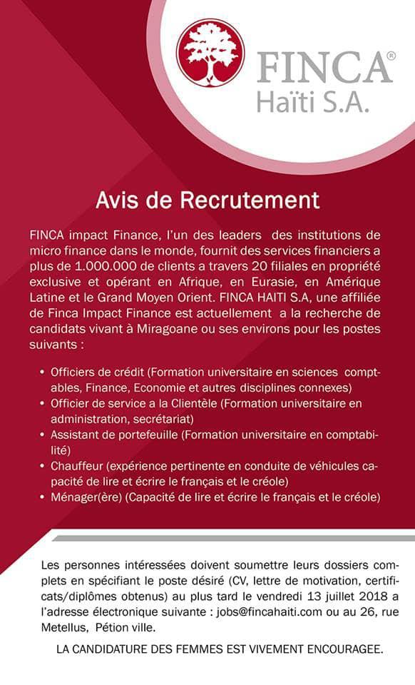 Avis de recrutement FINCA Haïti S.A.