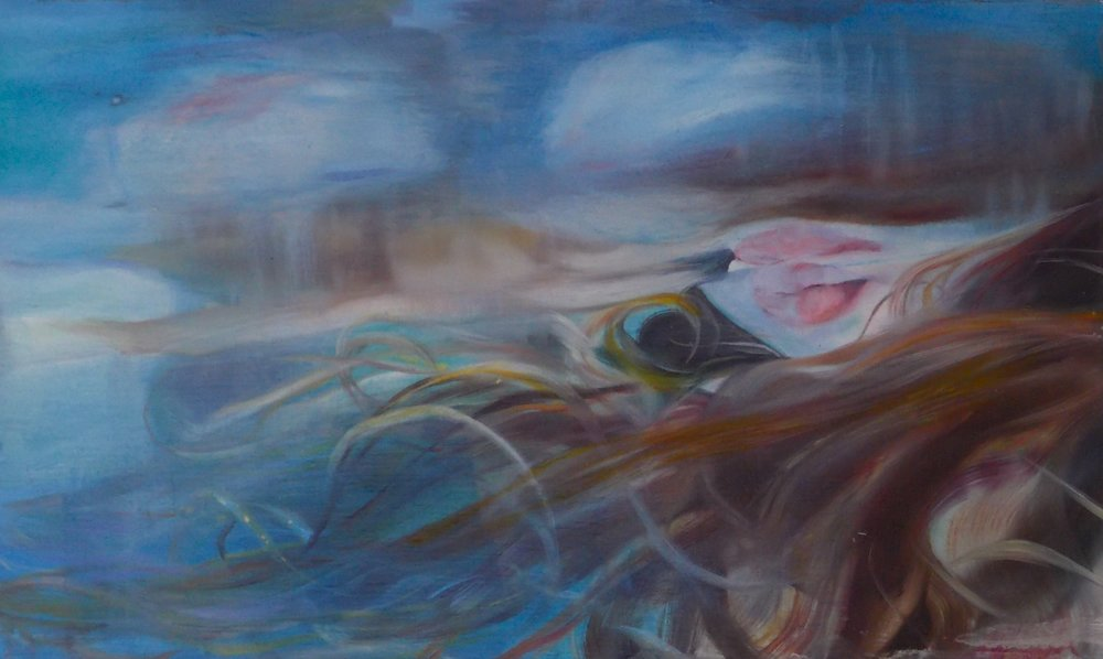 "Blur   2015  Oil on panel  12"" x 20""  ©Mikaela McLeish 2018  SOLD"