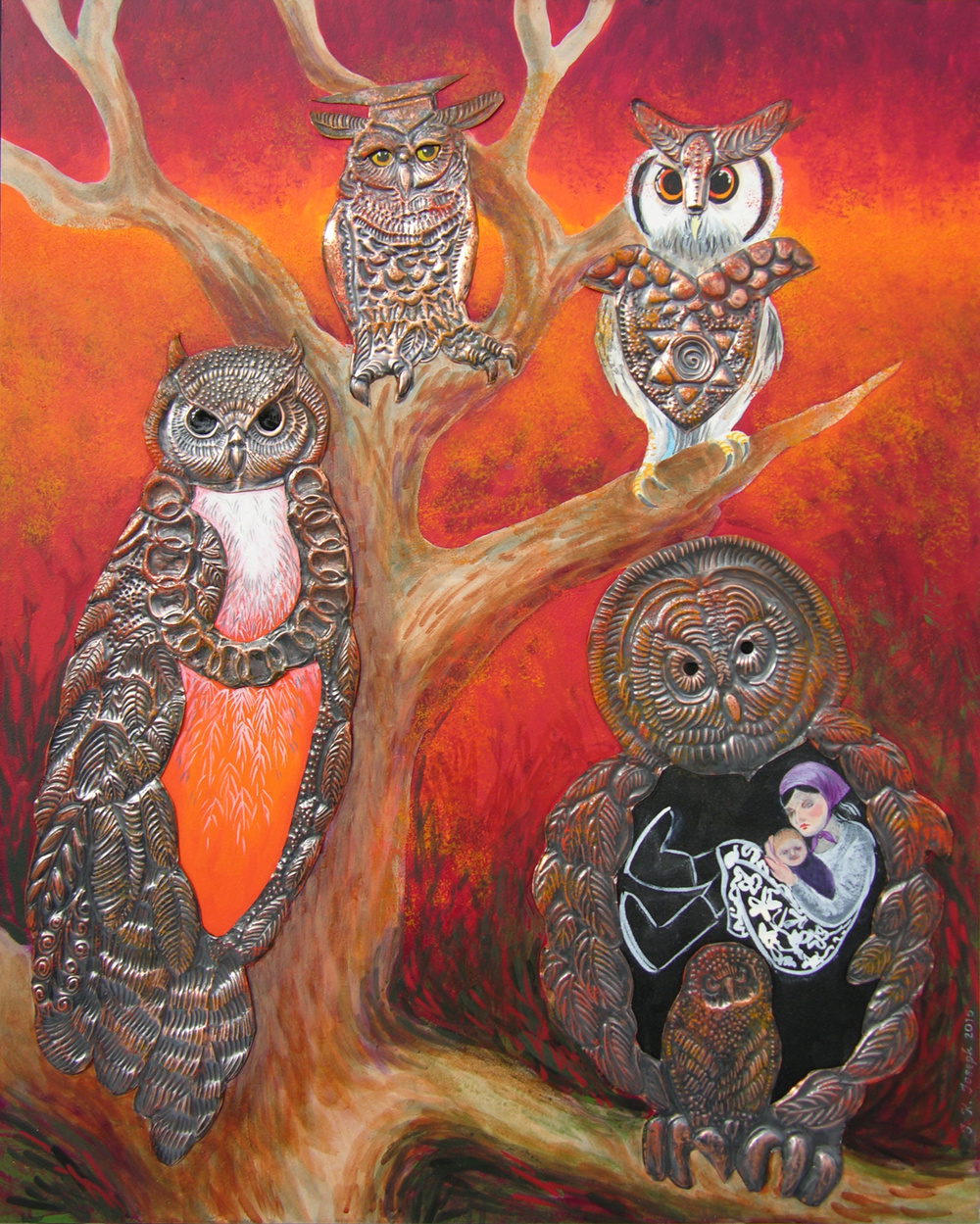 Portrait of my Grandmother and Her Sisters As Owls