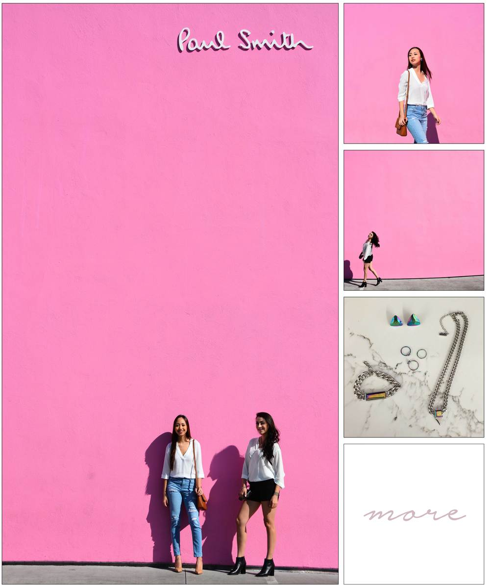 No girl can resist pink. For this shoot we visited one of the trendiest places in LA: Paul Smith's pink wall.   To not clash with the bright wall, we kept it pretty basic with simple colors for an everyday look.     Click more for details!
