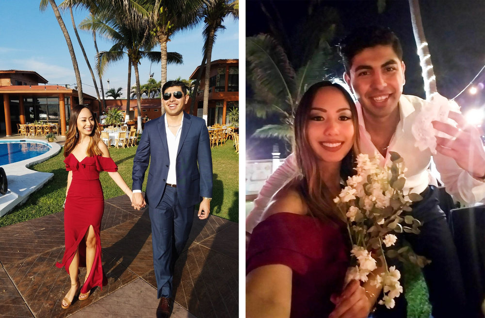 The wedding reception was super fun and beautiful! It was outdoors and had a beach view. As you can see in the right pic, I caught the bouquet and my boyfriend caught the garter...I guess we might be next  👀