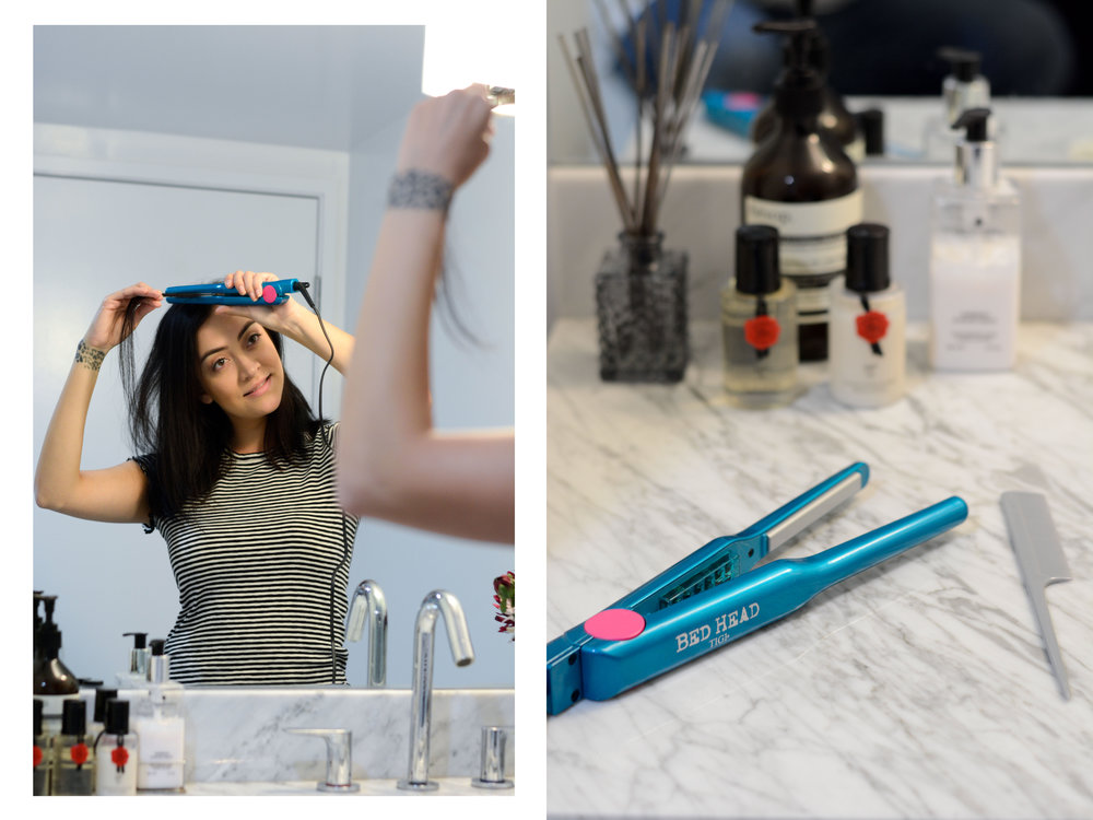 """Step 1  I try to not always wash my hair, but when I do I always use a serum and run that through my damp hair with my fingertips. My hair tends to frizz up so doing this step helps control most flyaways. However, I still have a few that tend to have a mind of their own and so I used the  ½"""" Pixie Straightener  after blow drying my hair. The mini flat iron helps get close to the root of the hair to smooth out any kinks and calm any stubborn strands."""