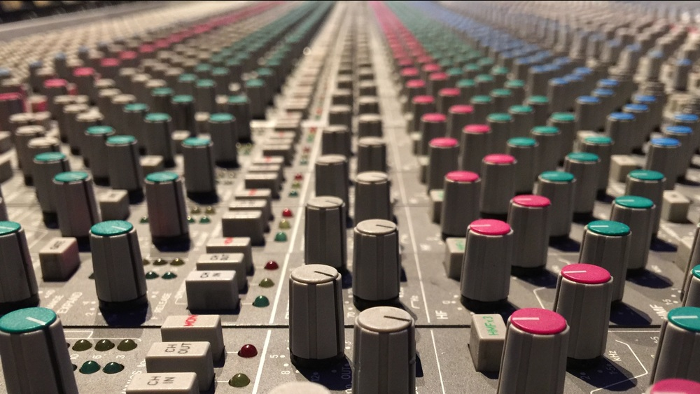 High Pass Filters and Low Pass Filters above the EQ section on an SSL console.