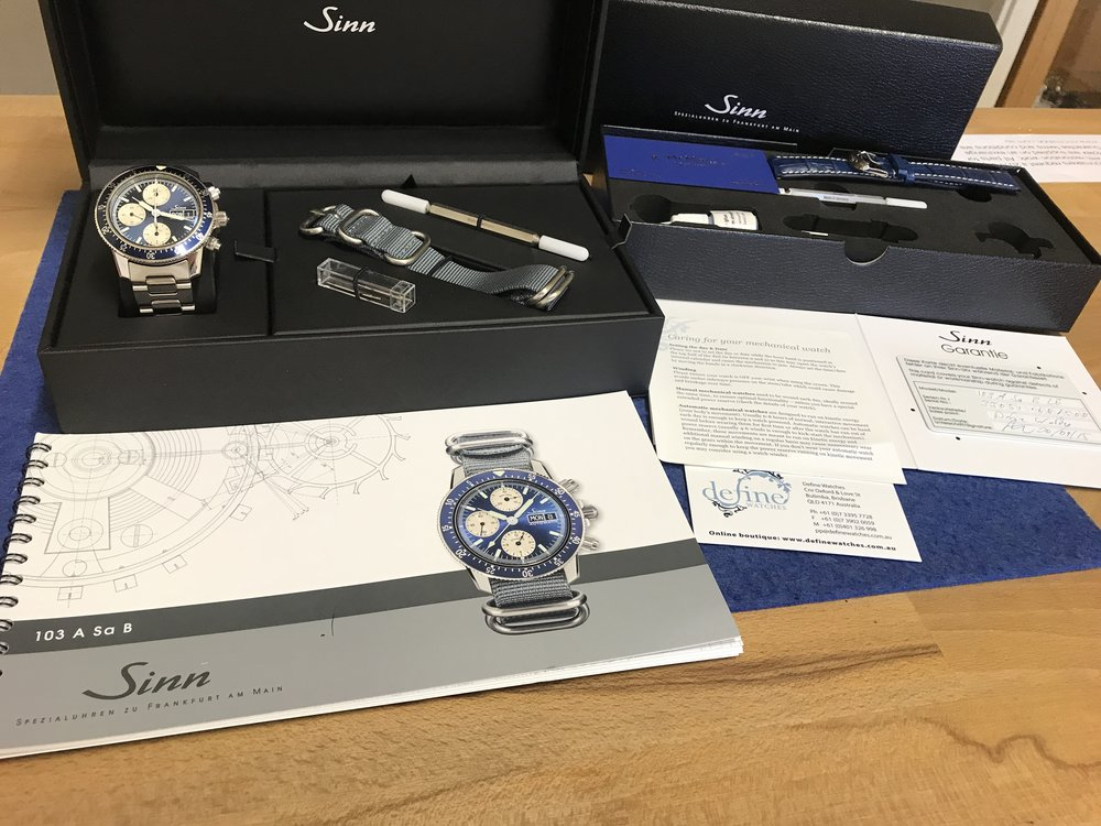 Full set box and papers. Supplied with Sinn tool kit and Sinn steel bracelet.