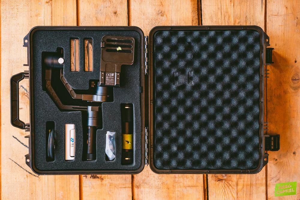 The Zhiyun Crane V1 packed up in its hardshell case.