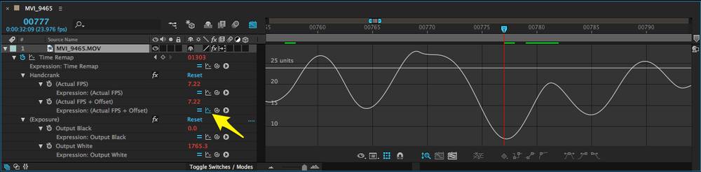 Use the Show Post-Expression Graph button to reveal the frame rate graph.