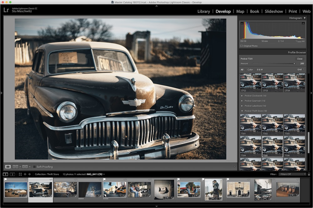 Prolost Profiles appear in the Profiles browser introduced in Lightroom Classic 7.3.