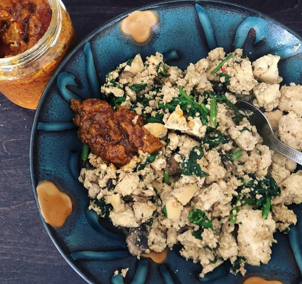 You haven't had tofu scramble until you've had it with Paddy's eggplant or apple pickle stir fried with mixed vegetables.
