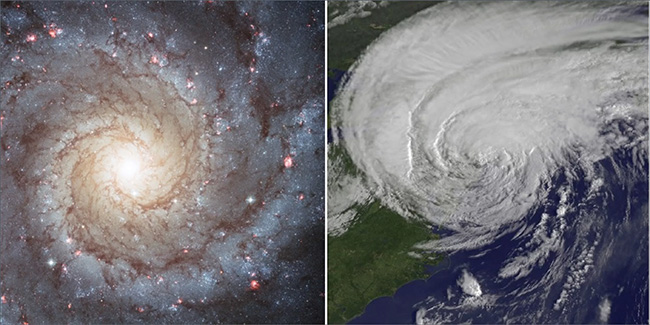The shapes of spiral galaxies, such as Messier 74, and hurricanes, such as Hurricane Irene, follow the Fibonacci sequence. Credit: Left: NASA/ESA/Hubble Heritage Team. Right: NASA NOAA GOES Project
