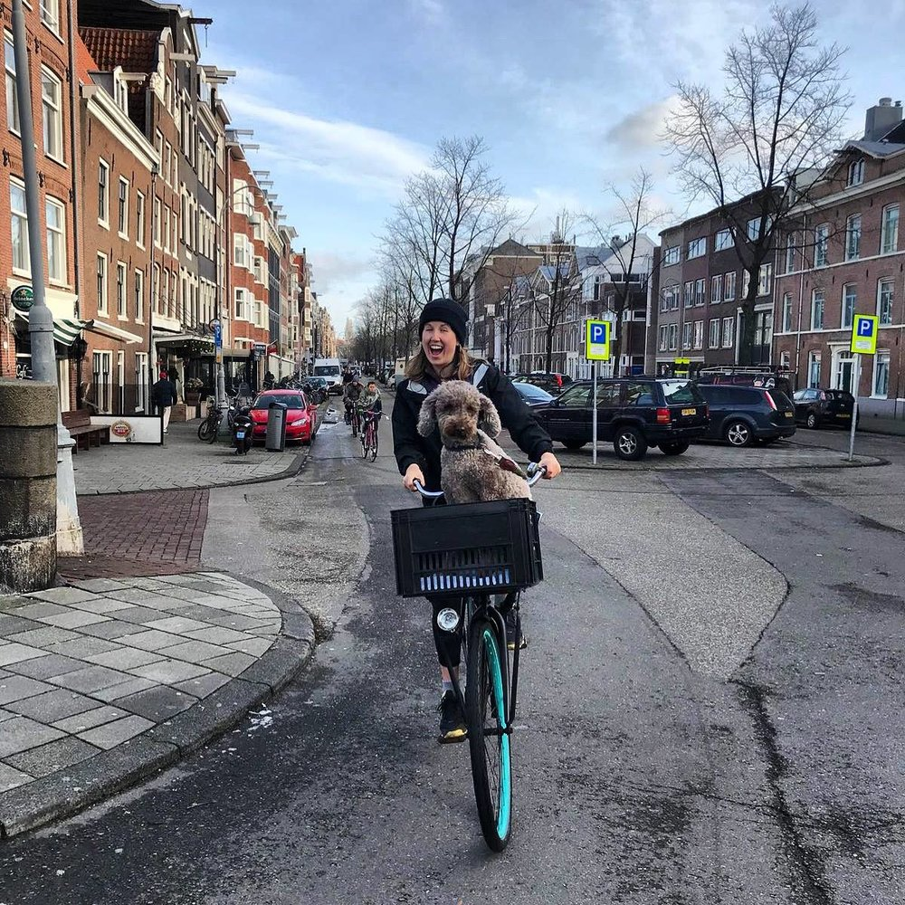 Ella out on her bicycle in Amsterdam.