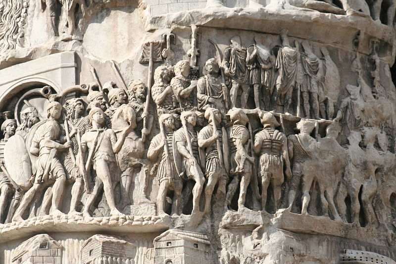Roman legionaries marching, from the Column of Marcus Aurelius, Rome, Italy, 2nd century AD. Picture Credit Barosaurus Lentus