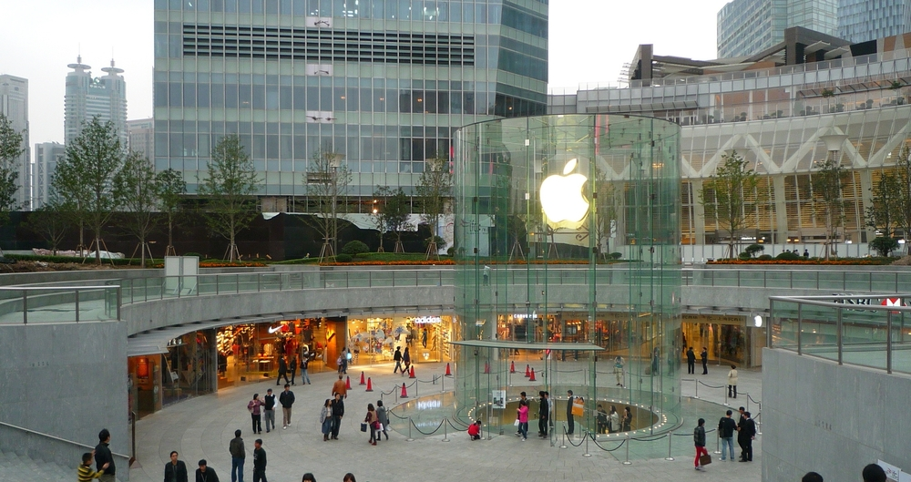 Shanghai Pudong Apple Store by Robertlicensed under CC Attribution 2.0, edited by Convergnce.