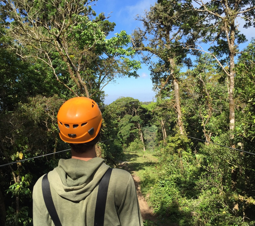 My friend TG ready for the longest zip line in Central America