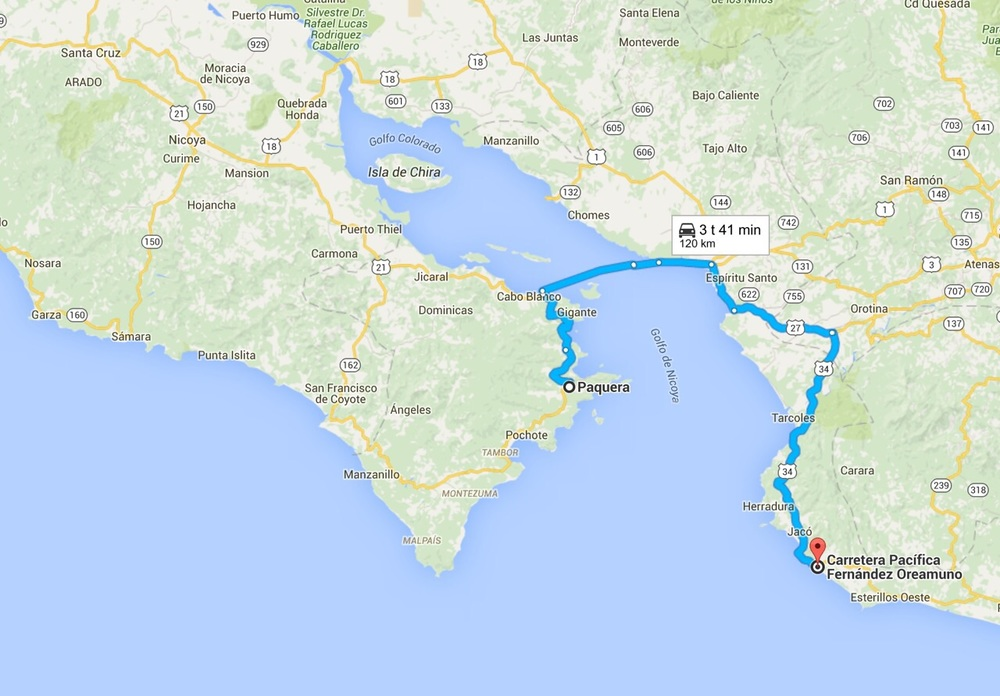 Route from Paquera to our next destination.