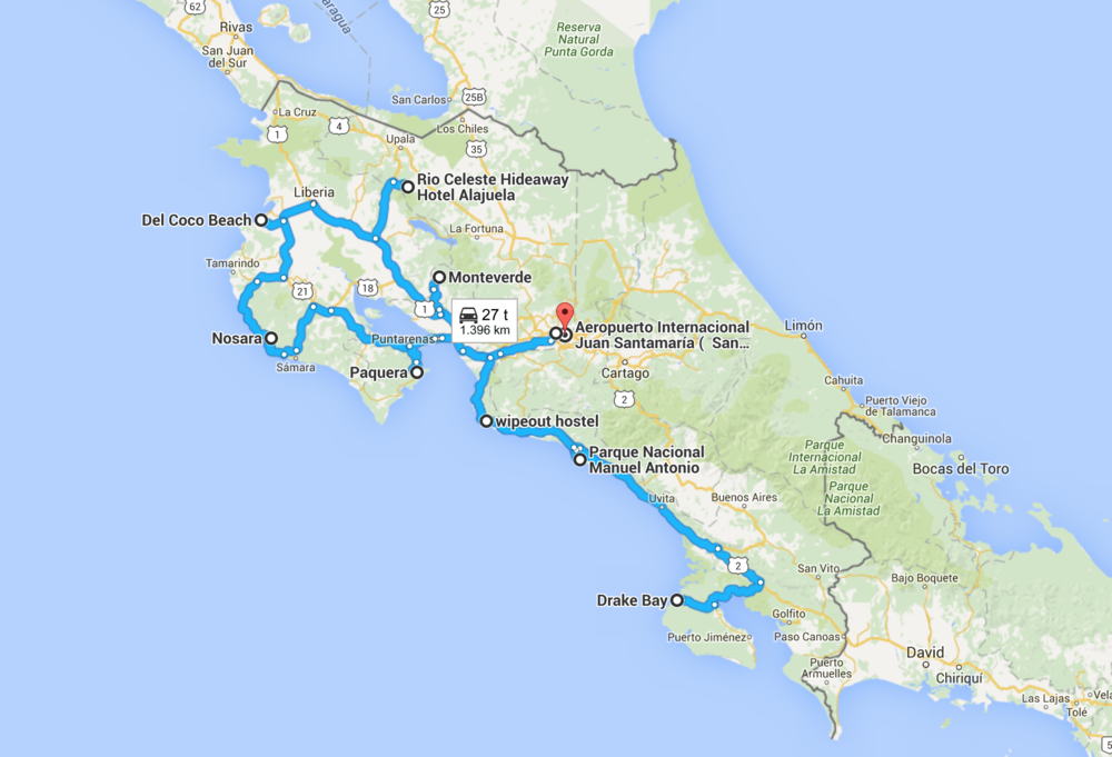 Our complete route with all our main destinations, but without our small adventures in the local areas.