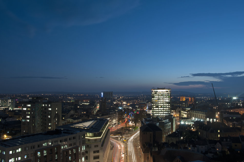 Bristol cityscape at night