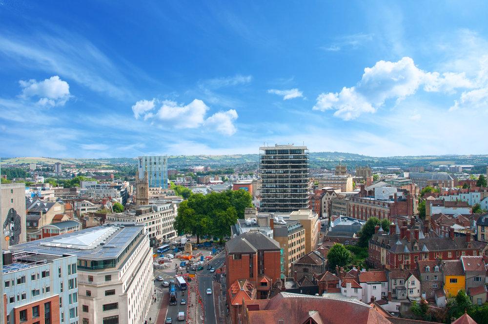 View over Bristol City Centre, 2016.