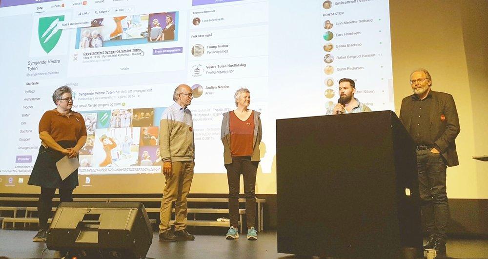 Line Horntveth, Kolbjørn Teien, Lisbeth Eilertsen, Thomas Hildonen og Birger Aasland (Alle fra sangutvalget).