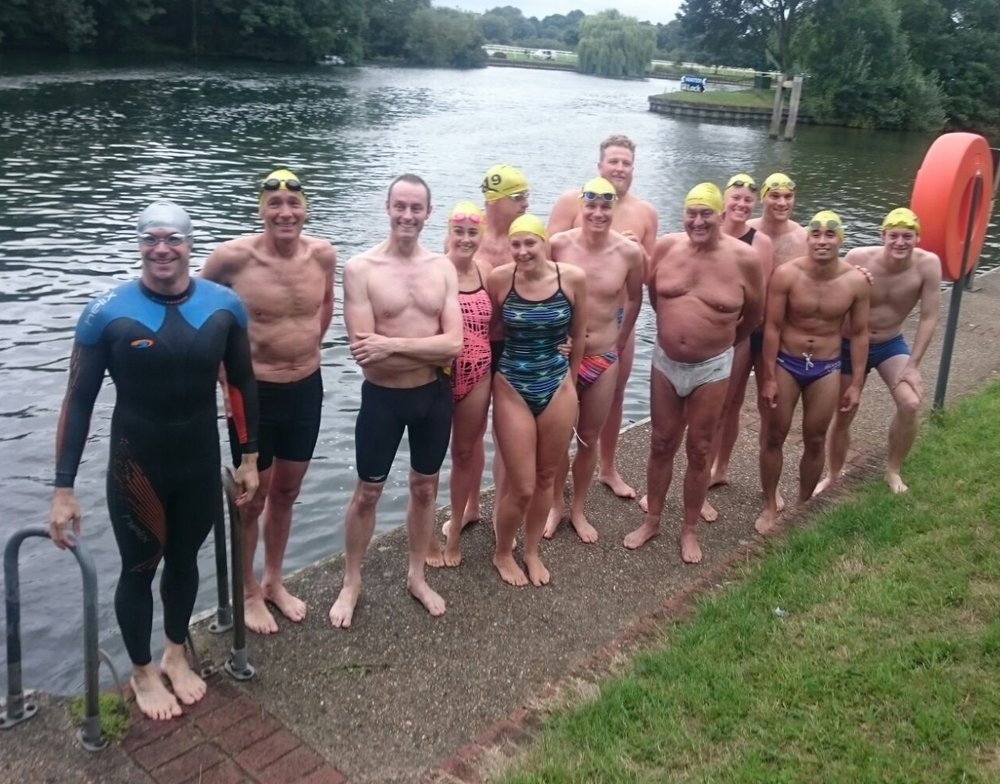 13 swimmers at the start of the Otter Mile