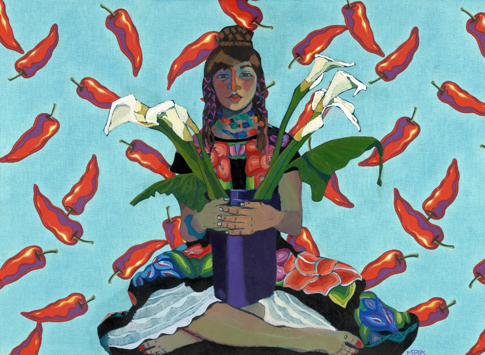 "Kathy Sosa, Chile Lillies, Huipiles, 2007, 36"" x 50"", Oil portrait collage"