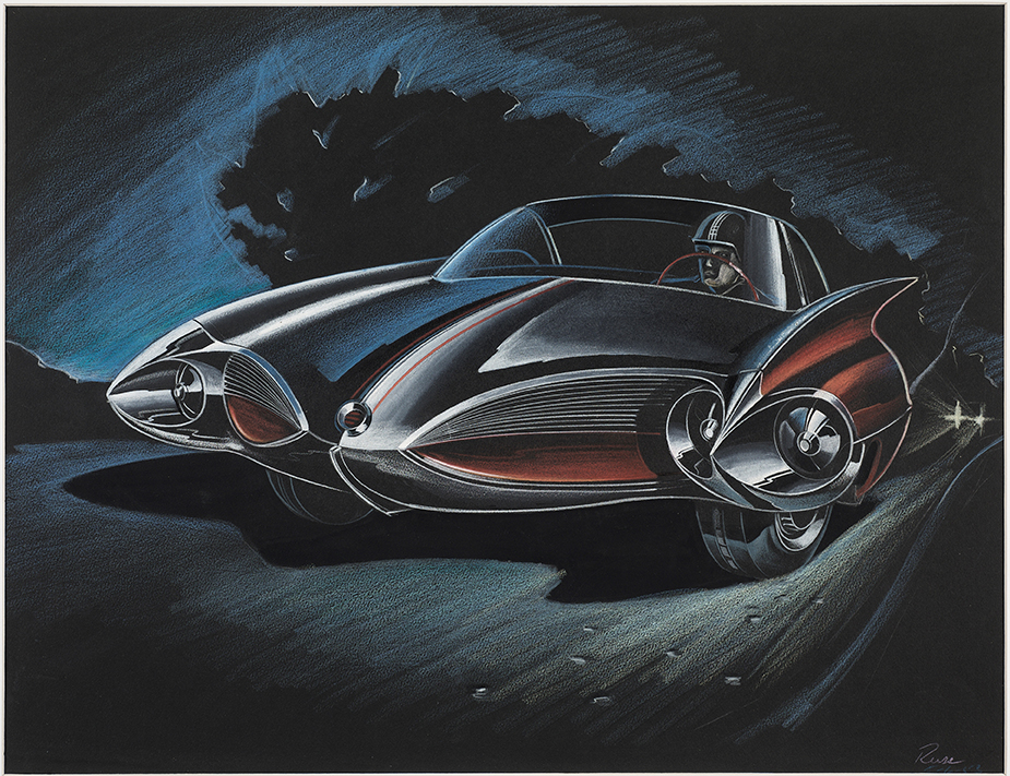 Design Proposal: Two Door Sports Car, Elia Russinoff, 1953, Colored pencil on black paper, From the Jean S. and Frederic A. Sharf Collection
