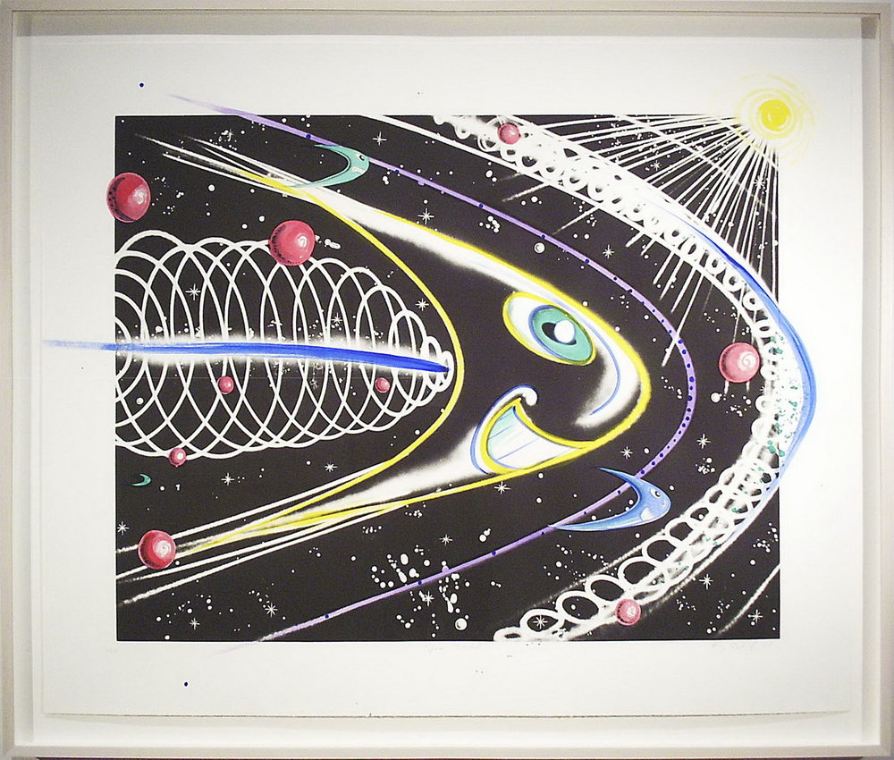 Kenny Scharf, Space Travel, 2002, Line-etching and aquatint with spit-bite aquatint, PMoA Permanent Collection 2002.21.4, Gift of Norma Canelas and William D. Roth