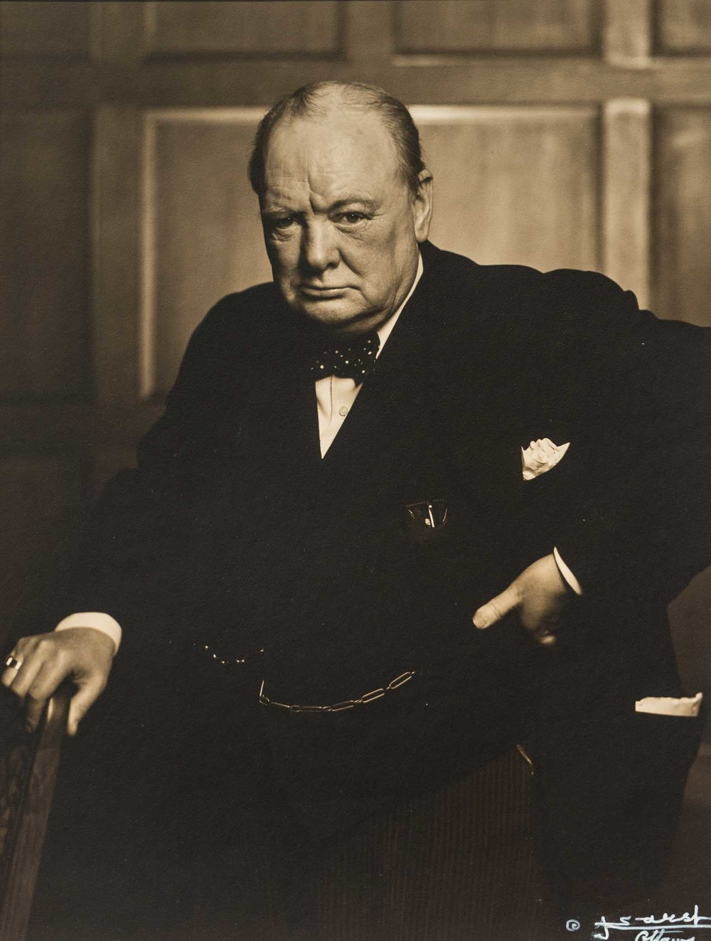 Yousuf Karsh, Winston Churchill, 1941, silver gelatin print, Gift of the Estate of David P. Hauseman, Polk Museum of Art Permanent Collection 2013.3.1 © The Estate of Yousuf Karsh