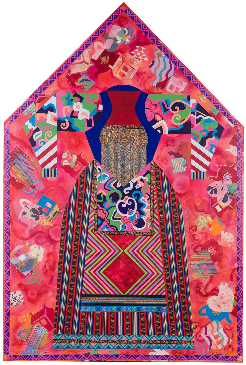Miriam Schapiro, The Poet, 1983, Acrylic and fabric collage on canvas, Purchased through donations by Mr. and Mrs. Rhett Barker; Sue Bentley; Mr. and Mrs. Wm. Ellsworth, Jr.; Mr. and Mrs. Tip Fowler; Dr. Jane Carver Holmes; and Mr. and Mrs. Bob Macey; Dr. and Mrs. Tom McLaughlin; Norma Roth; Dr. and Mrs. David Taxdal; Anne T. Tucker; Mr. and Mrs. Jim Weeks; Barbara Fowler Wilson; Carol and Steven Boyington; Kristen and Dan Gunter; Lois Harrison; Lisa and Robert Rath; Terri and Joe D'Orsaneo; Dr. and Mrs. John Fargher; Bonnie Franks; Wendy Hall; Alfred and Lucille Pfund; Dr. and Mrs. James Rogers; Catherine and Daniel Stetson; Diane Van Dusen; the Docent Acquisition Fund; the Friends of Polk Museum of Art; and the Kent Harrison Memorial Acquisition Fund, Polk Museum of Art Permanent Collection 2000.7