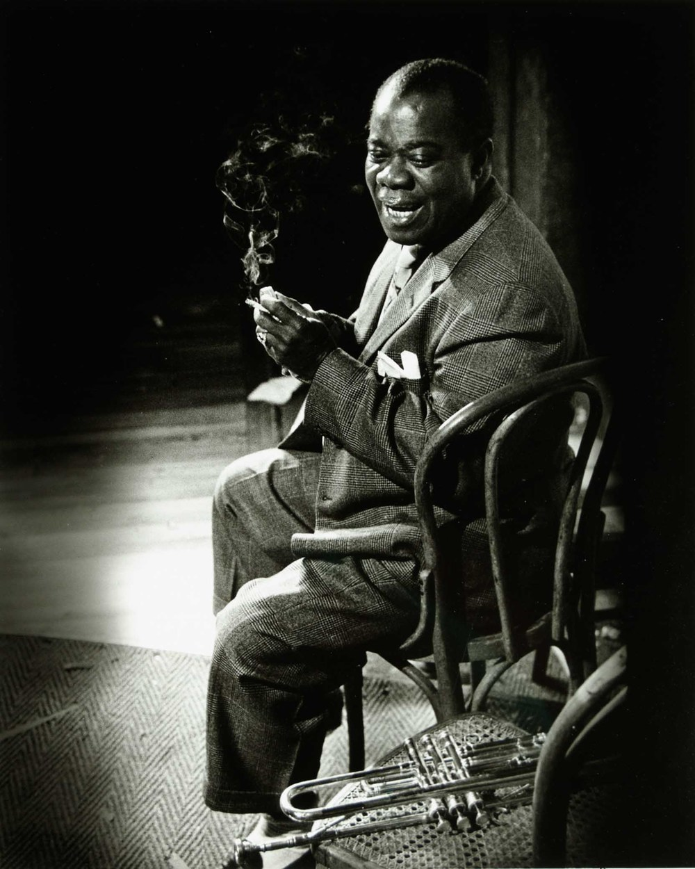 Herman Leonard, Louis Armstrong, Paris, negative date 1960, Silver gelatin print, Gift of Robert and Malena Puterbaugh, Polk Museum of Art Permanent Collection 2009.7  © Herman Leonard Photography, LLC