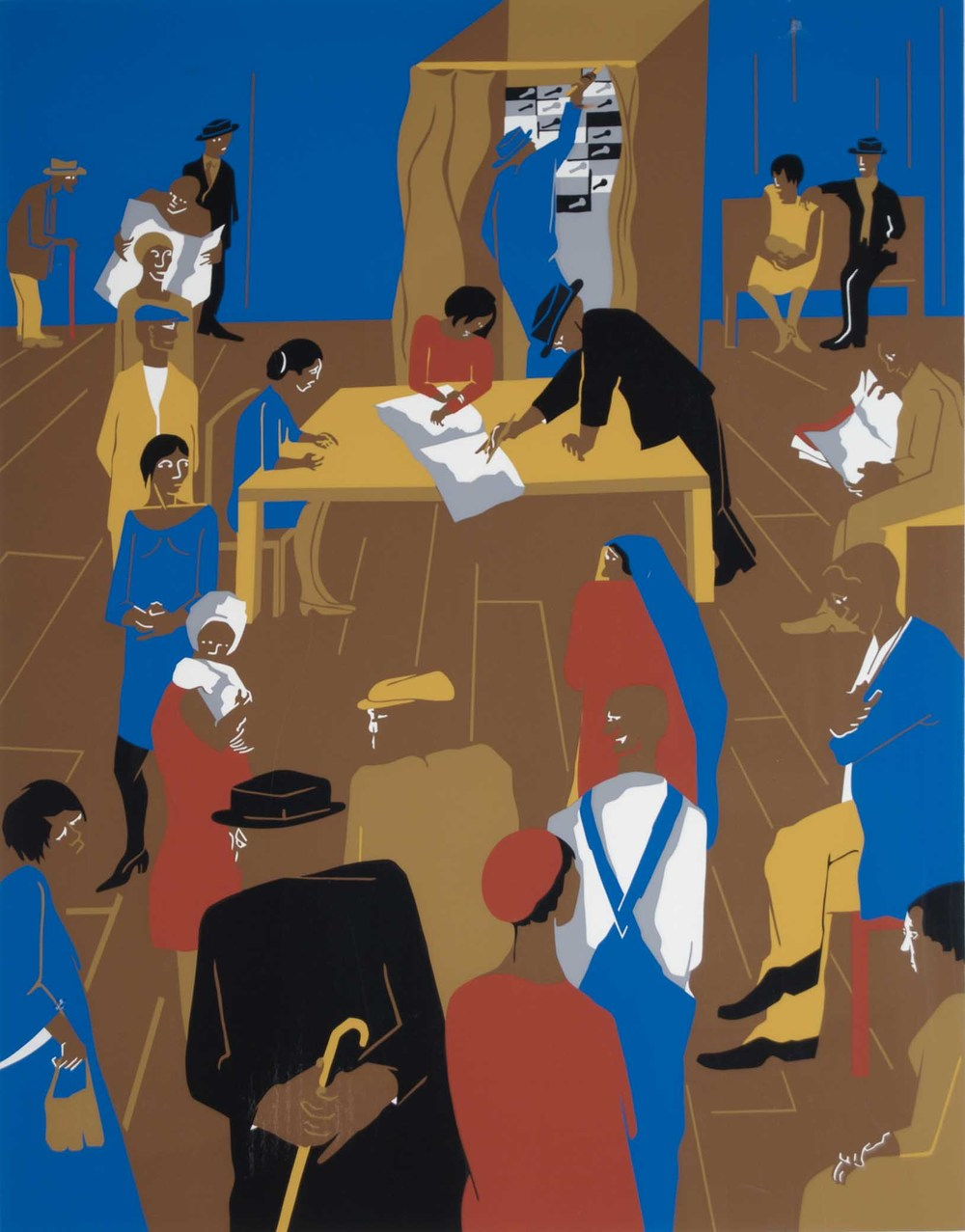 Jacob Lawrence, 1920s...The Migrants Arrive and Cast Their Ballots, 1974, Screenprint on domestic etching paper, Purchased through Douglass Screen Printers Serigraphy Collection Fund, Polk Museum of Art Permanent Collection 2008.29