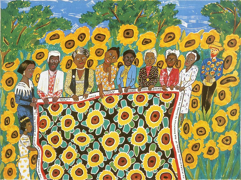 Faith Ringgold, The Sunflower Quilting Bee at Arles, 1996, Nine-color lithograph, Museum Purchase through the General Acquisition Fund, Polk Museum of Art Permanent Collection 1997. 17 © Faith Ringgold 1996