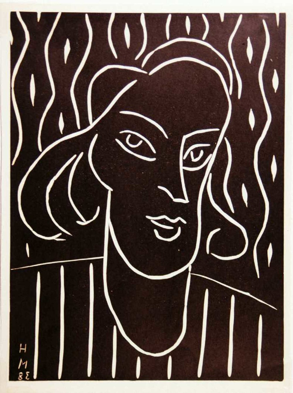 Henri Matisse, Head of a Woman, n.d., Linocut, Gift of the Estate of Earleen G. Field, Polk Museum of Art Permanent Collection 2001.11.10