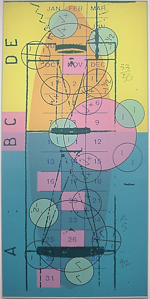 Keith Sonnier, Meridan Codex: Print One, 1992, Screenprint on balloon cloth, Graphicstudio Subscription Purchase, Polk Museum of Art Permanent Collection 1993.13