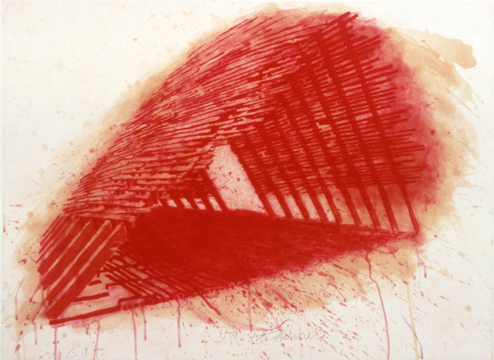 Robert Stackhouse, Red Encounterings, 1992, 4-color spitbite, aquatint, etching, Graphicstudio Subscription Purchase, Polk Museum of Art Permanent Collection 1993.14