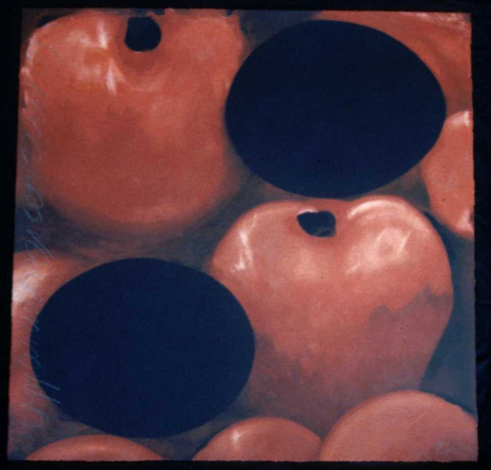 Donald Sultan, Apples and Eggs, 1999, Serigraph edition of 90, Purchase through the Kent Harrison Memorial Acquisition Fund, Polk Museum of Art Permanent Collection 1999.26