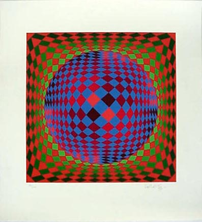 Victor Vasarely, Untitled (Sphere), n.d., Serigraph (184/250), Gift of William and Norma Roth, Polk Museum of Art Permanent Collection 2001.19.3