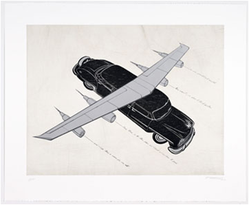 Esterio Segura, Todos Quisieron volar: Hibrido de limo Chryler New Yorker, 2007, Drypoint, etching, screenprint, woodcut, Purchase through the Kent Harrison Memorial Acquisition Fund, Polk Museum of Art Permanent Collection 2008.5