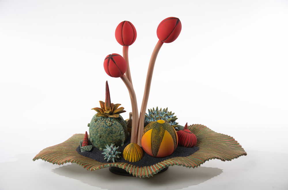 William Kidd, Still Life with Poppies, 2011, Clay with low-fire glaze, Mayfaire-by-the-Lake Purchase 2011, Polk Museum of Art Permanent Collection 2011.14