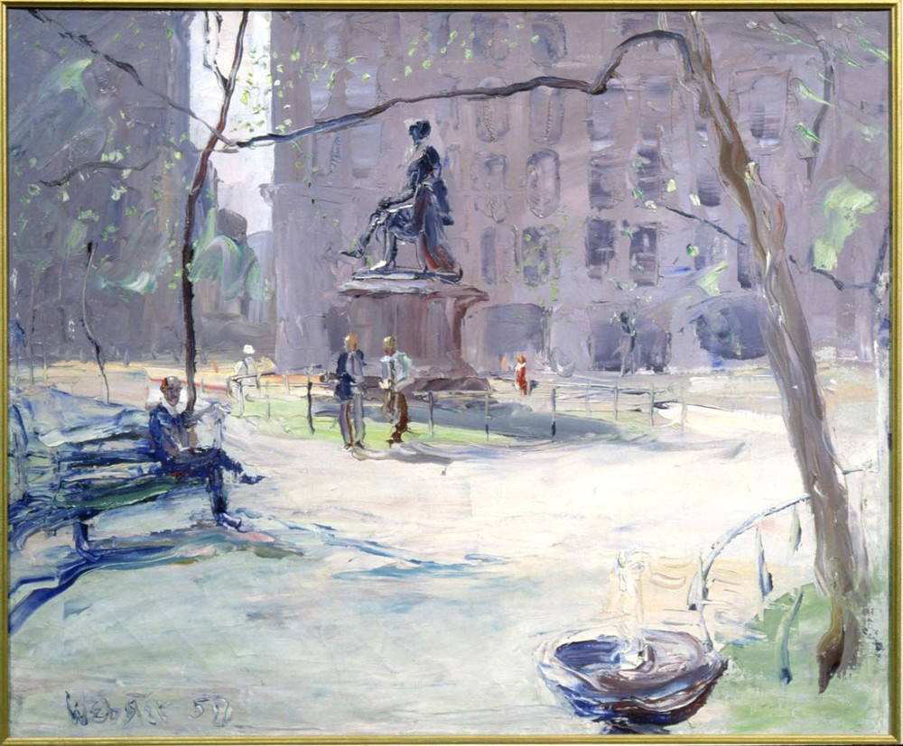 Stokely Webster, Madison Square Park, 1950, Oil on canvas, Gift of the artist, Polk Museum of Art Permanent Collection 1986.2