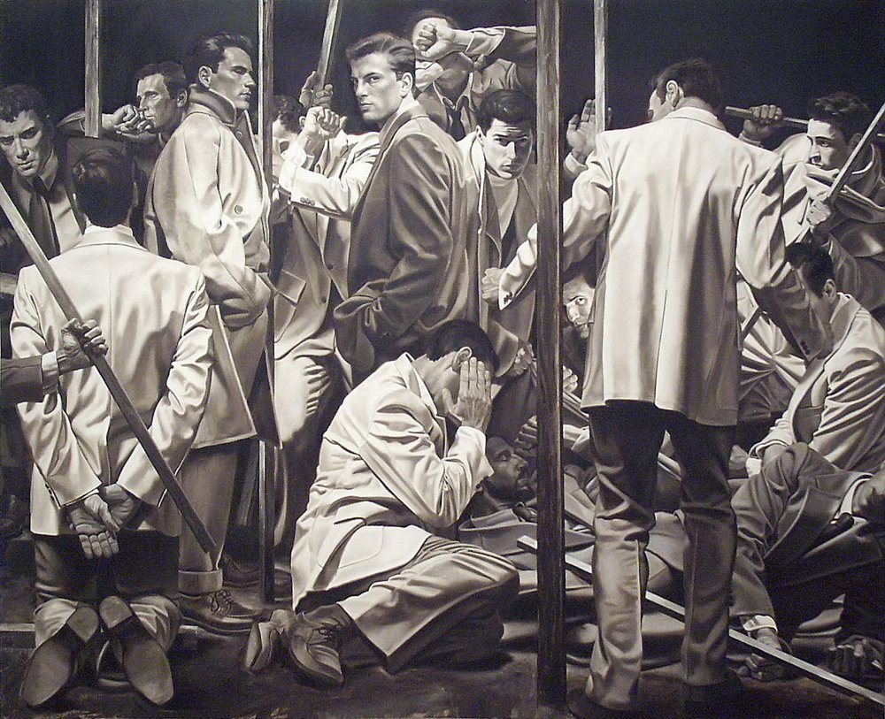 James Michaels, 15 Men, Oil on canvas, 1992 Mayfaire-by-the-Lake Purchase Award, Polk Museum of Art Purchase Award 1992.21