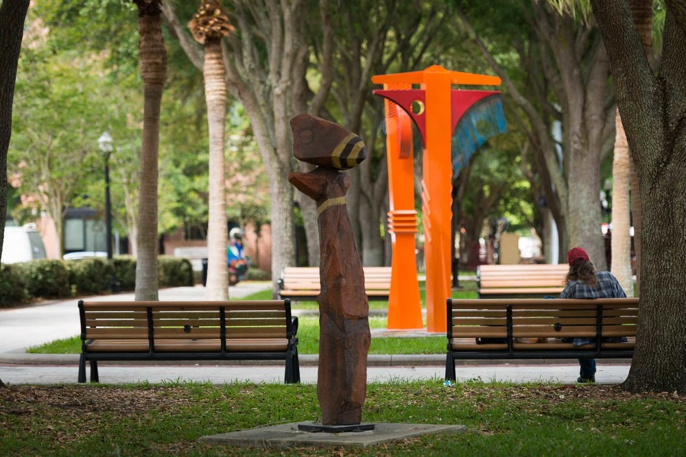 Sculptures installed in downtown Lakeland as part of the Florida Outdoor Sculpture Competition.