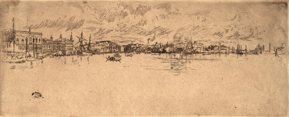James Abbott McNeill Whistler,  Long Venice , c.1879-1880, Etching on laid paper, Gift of Mr. Cloud Wampler, SUAC 1963.1022, Courtesy of the Syracuse University Art Collection