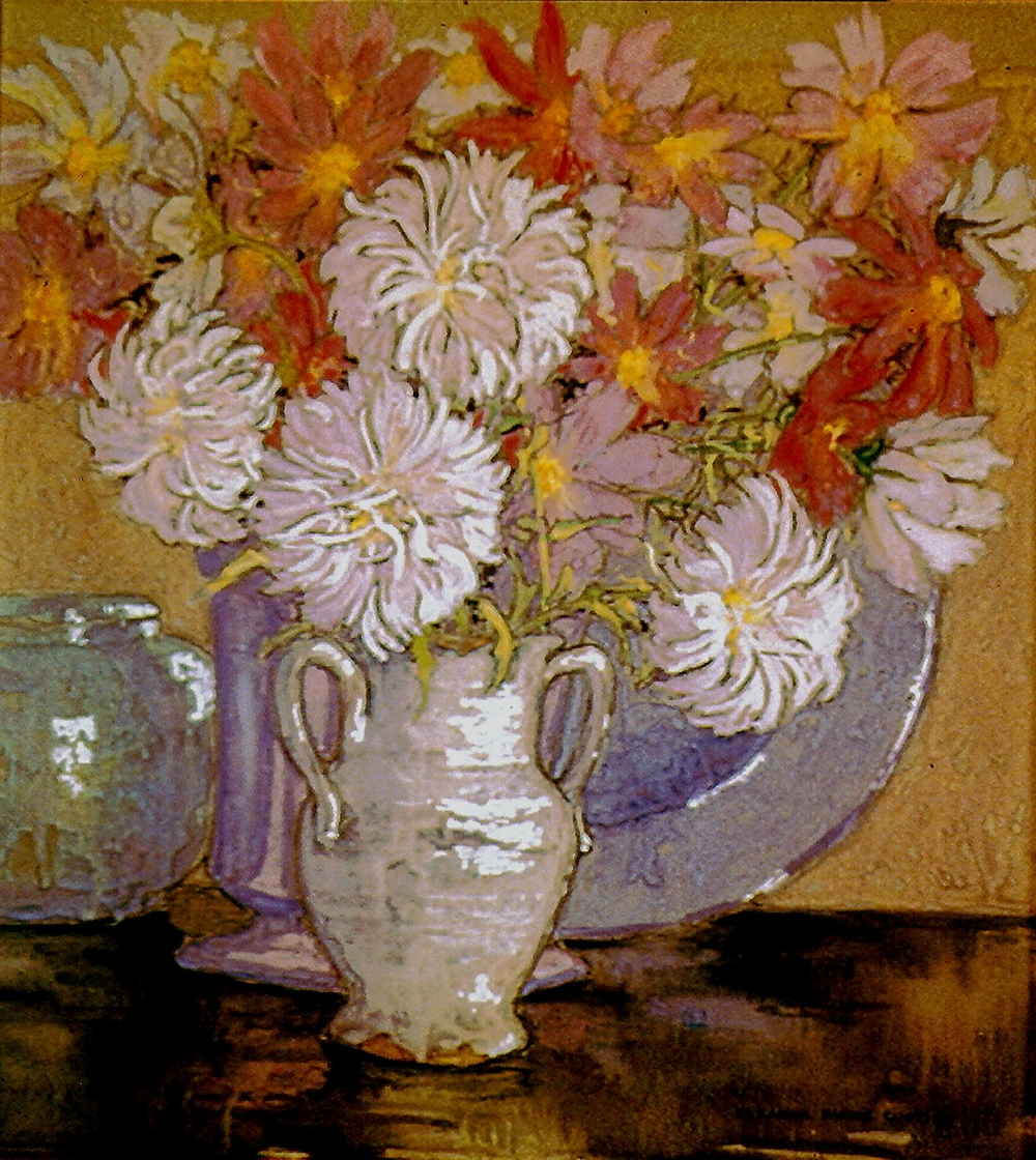 Eleanor Custis (1897-1983),  Daisies and Mums , Watercolor on paper, 15.5 x 14.25 in.