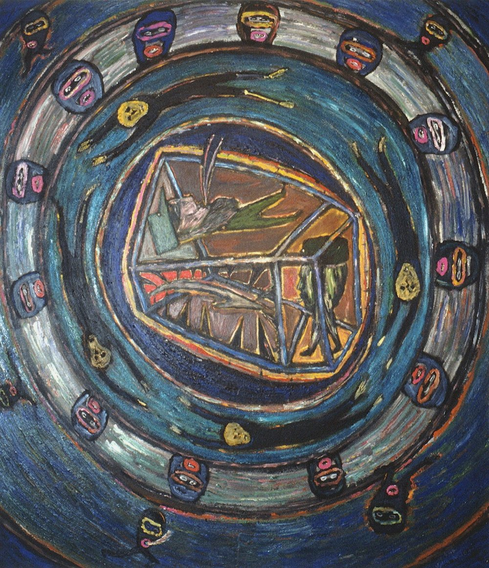 Julio Antonio,  NEW PANDORA'S BOX , N.D., ACRYLIC ON CANVAS, POLK MUSEUM OF ART PERMANENT COLLECTION 1993.4, ALL-FLORIDA BIENNIAL PURCHASE AWARD THROUGH THE KENT HARRISON MEMORIAL ACQUISITION FUND