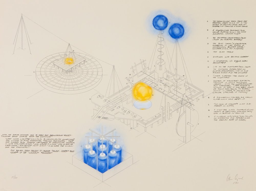 Alice Aycock, How to Catch and Manufacture Ghosts, 1981, Photo-etching and watercolor (XVII/XXX), Polk Museum of Art Permanent Collection 2002.21.1, Gift of Norma Canelas and William D. Roth.
