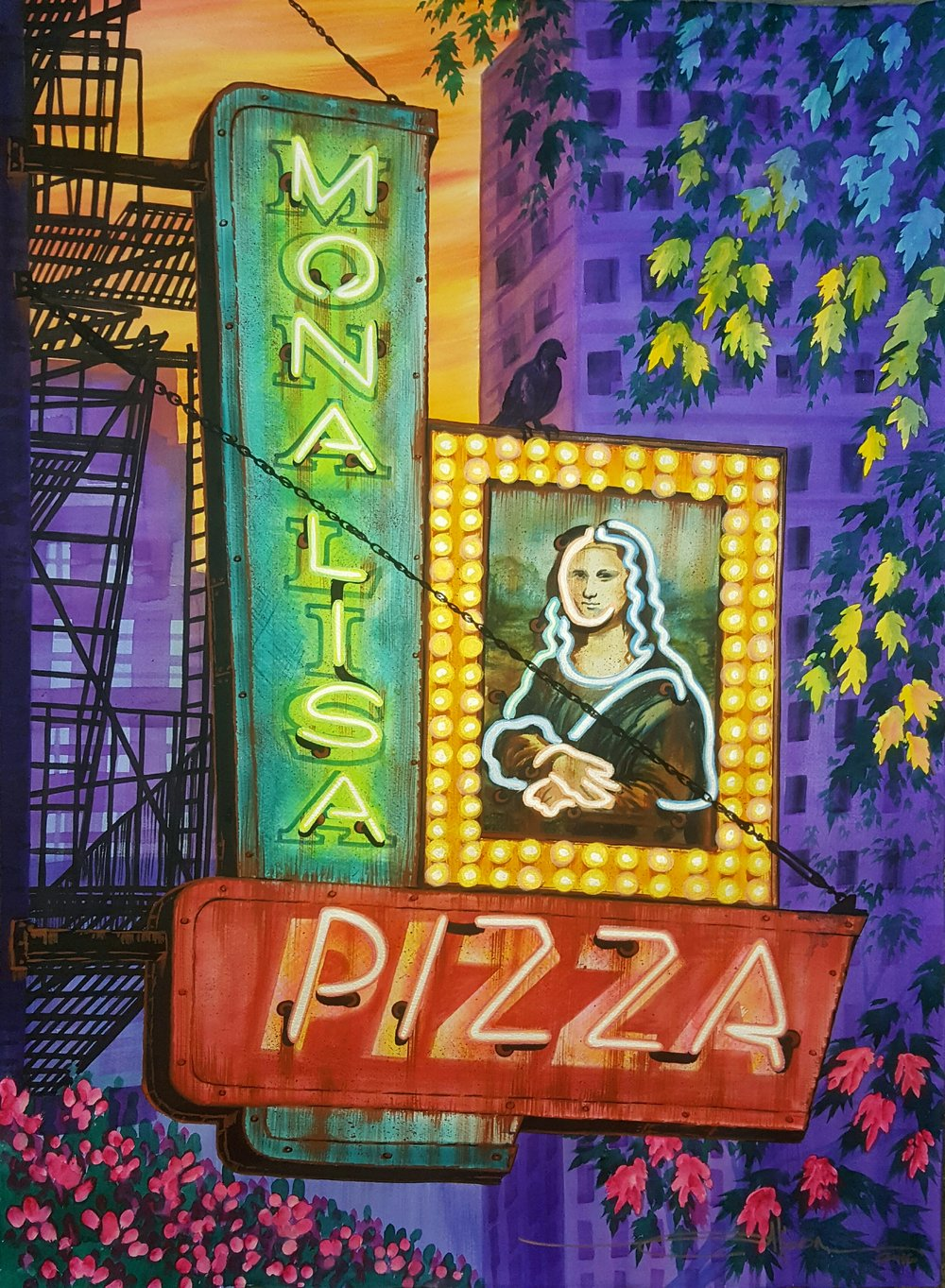 Alison LaMons, Monalisa Pizza, 2016, Watercolor on paper with iridescent medium