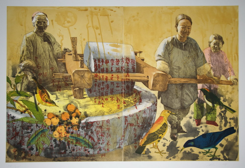 Hung Liu,  Working Women: Millstone , 1999, Color softground and spitbite aquatint etching with scrape and burnish, Polk Museum of Art Permanent Collection 2007. 9.2, Purchased through the Art Resource Trust © Hung Liu