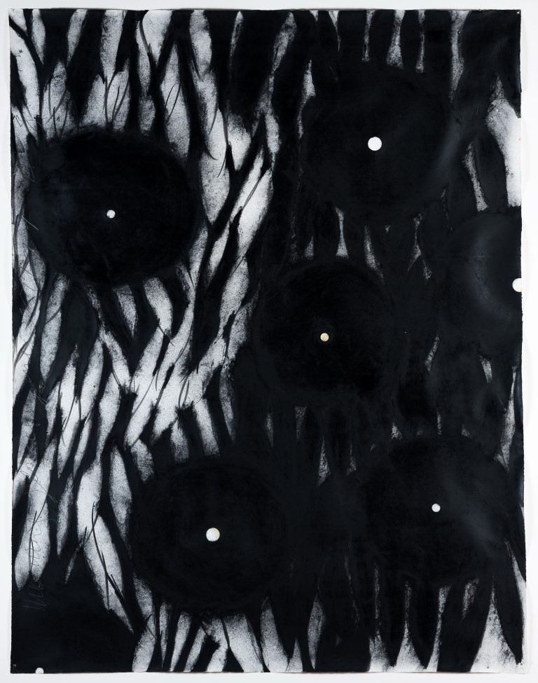 Donald Sultan,  Morning Glories,  1991, Ink, chalk, graphite on paper, Gift of Clifton and Dolores Wharton, Polk Museum of Art 2007.1 © Donald Sultan